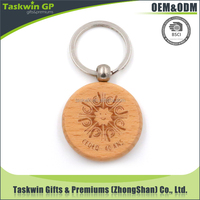 Eco-friendly wood made custom engrave your own logo promotional wooden carving keychain