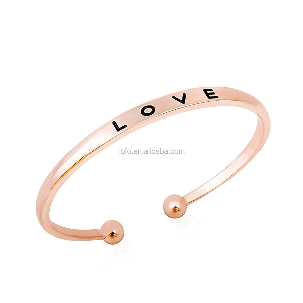 European Style Simple Style LOVE Opening Bangles For Women Fashion Rose Gold Bangle