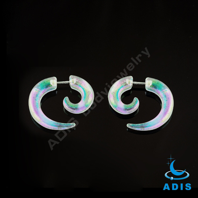 New color acrylic ear spiral expander plugs fake snail taper wholesale