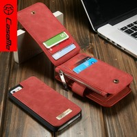 CaseMe New Design Phone Wallet Case for iPhone 5s , Leather Cases For iPhone5 14 Card Slot 2 in 1multifunctional phone case