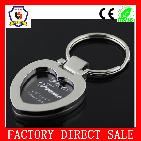 2015 hot sale and cheap metal heart shape digital photo frame keychain, can be engraved logo (HH-keychain-1724)