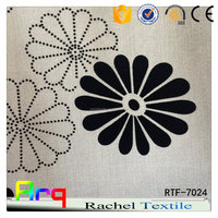 poly cotton upholstery fabric black and white color floral design flocking for curtain. sofa