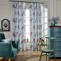 Cheap living room poly/linen mixed printed window curtains for alibaba door drape