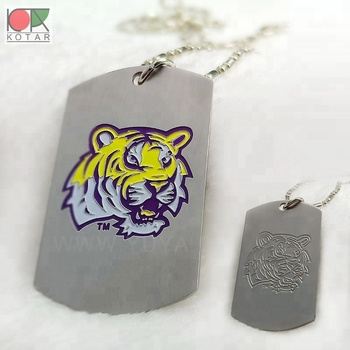 enamelled tiger logo stainless photo etched dog tag