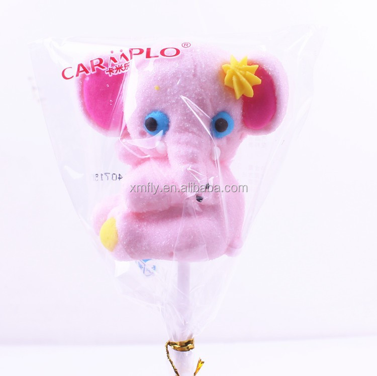 Best gift Animal Shape Elephant Cotton Lollipop Marshmallow Candy