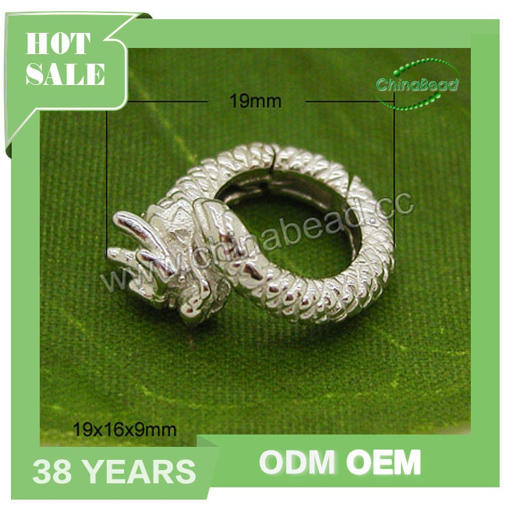 Factory sell 925 silver clasps for leather cord, silver dragon clasp for jewelry