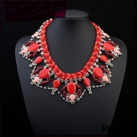 Egypt new lariat large costume jewelry 2016 trendy resin crystal statement necklace for summer collar