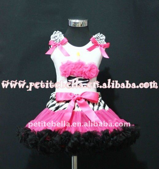 Zebra Hot Pink Black Pettiskirt With Hot Pink Rosettes Zebra Birthday Cake Tank Top with Zebra Ruffles