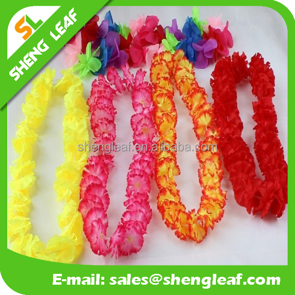 Synthetic polester hawaii flower Lei Garland red colorful 60cm long