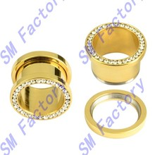 pair stainless steel gold ip plated clear cz gem rim screw fit ear flesh tunnels --SMED48015
