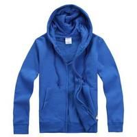 Custom high-quality men's sport blue hooded zipper fleece