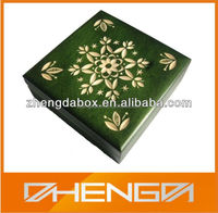 High Quality Customized Made-in China Laser Flowers Wooden Cube Box( ZDW13-049)