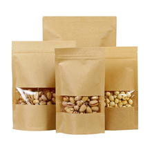 Custom printing food packaging resealable ziplock stand up kraft paper bag