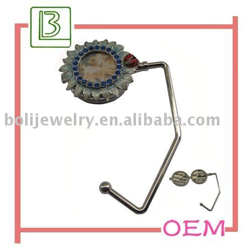 fashion purse hook with cosmetic mirror and photo frame