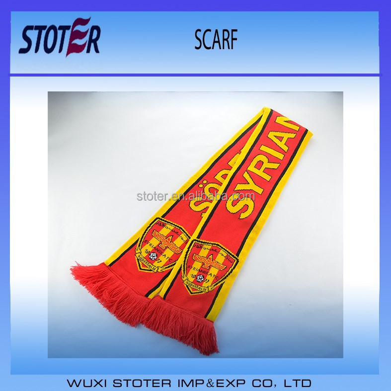 wholesale good quality football team sports match hand knitted scarf
