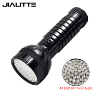 Jialitte F130 black 2 mode 4xAAA dry battery 395nm money check UV Blacklight 41 LED Ultraviolet flashlight torch