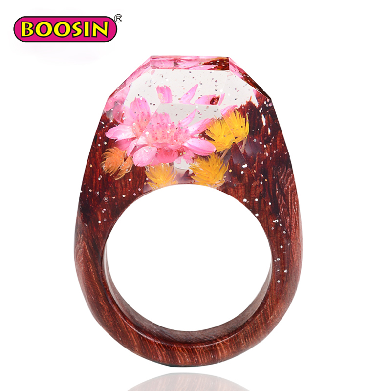 Boosin Jewelry Fashion Rings Handcraft Wood Resin Ring with Flowers Best Valentine Gift