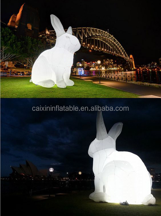 outdoor giant inflatable led light rabbit animal for the festival show