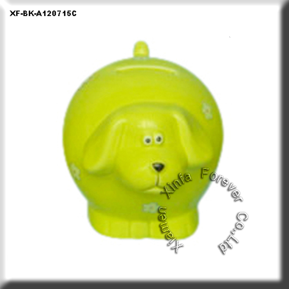 glazed ceramic dog shaped coin box