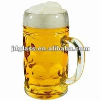 German Beer Stein Glass 2 Pint,1l beer mug,glass beer mugs with handles