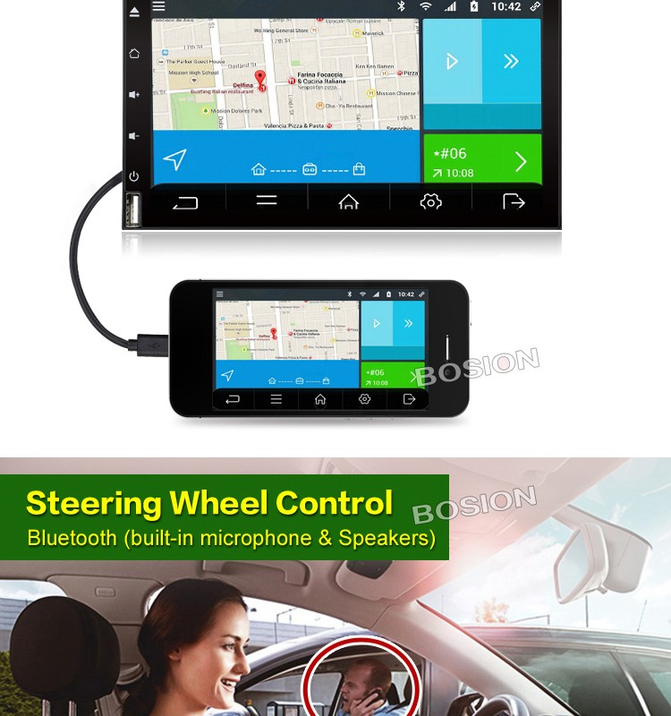 6.95 inch Universal Double Din Android Touch Screen Radio GPS Car CD DVD Player with Navigation Mirror Link OBD 3G Wifi