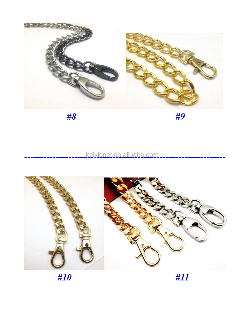 Metal Flat chain with hook for handbags NK chain with buckle for leather bags
