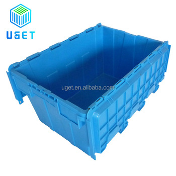 Manufacturer Price Sturdy 70L Large Nestable Stackable Crate for Office Plastic Moving Box with Flip Lid