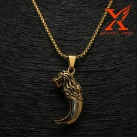 WHOLESALE STAINLESS STEEL CARVING ELEPHANT&DRAGON&EAGLE&LION GOLD BLACK TOOTH DESIGN PENDANT