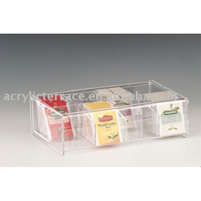 Acrylic 8 compartment tea bag box