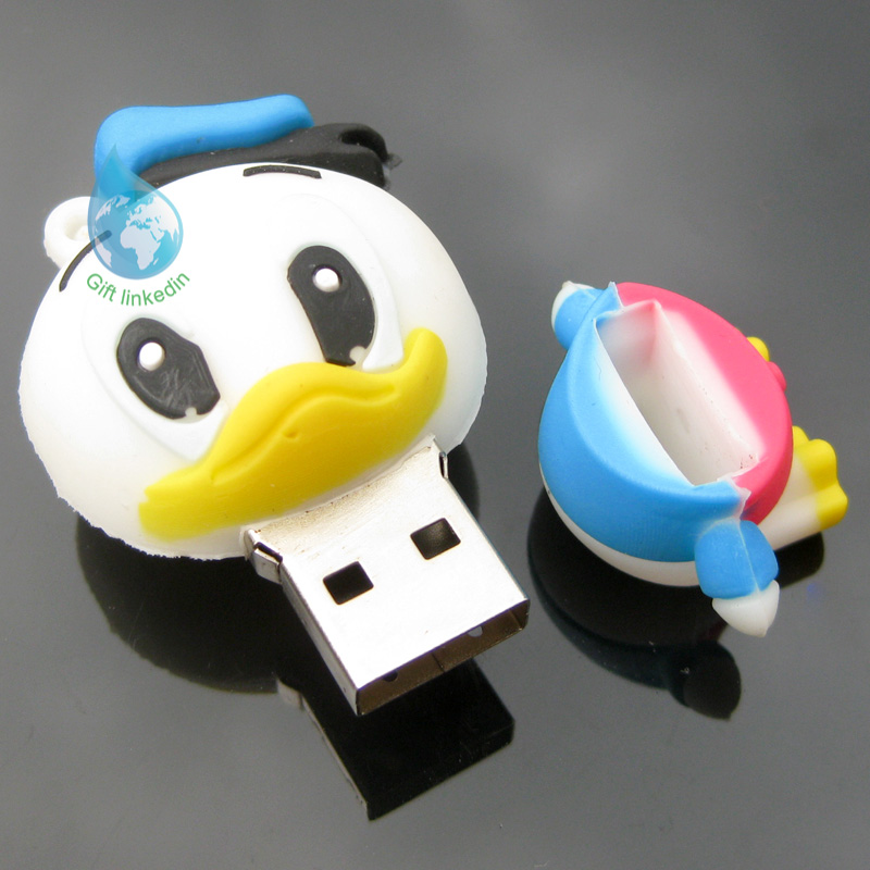 New 3D Donald Duck PVC USB Keychain/new product pvc cartoon usb flash drive