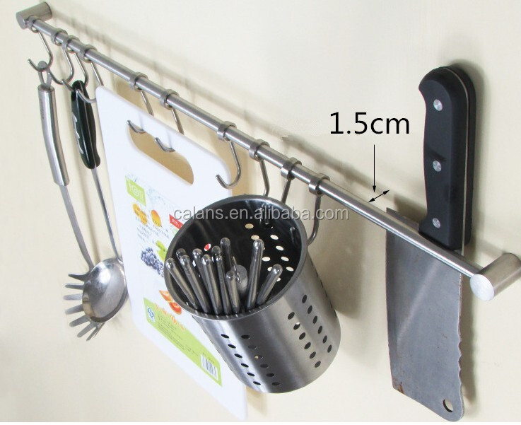 "23"" Polished Bar Hanging Hooks Pots Storage Kitchen Spoons Rack with 10 S Hooks"