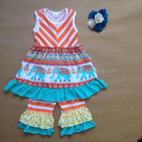 wholesale clothing sets lovely girls elephant fabric sleeveless cotton outfit brand name baby girls clothes