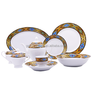 Chaozhou Factory Ethiopian art saba design fine porcelain 47 pieces dinner set