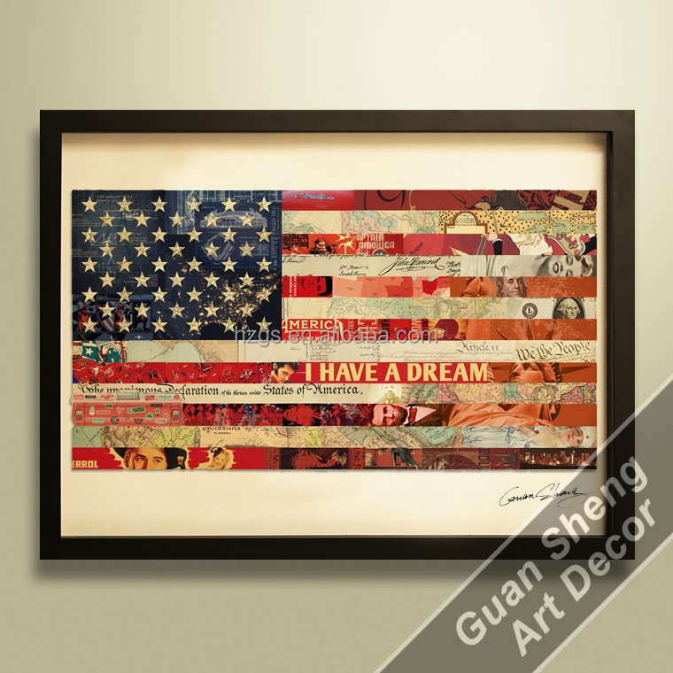 wholesale relief art Flag of the United States american flag canvas wall art