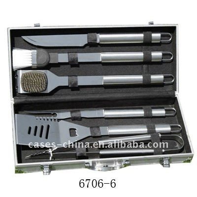 6pcs stainless steel BBQ tools set with aluminum case
