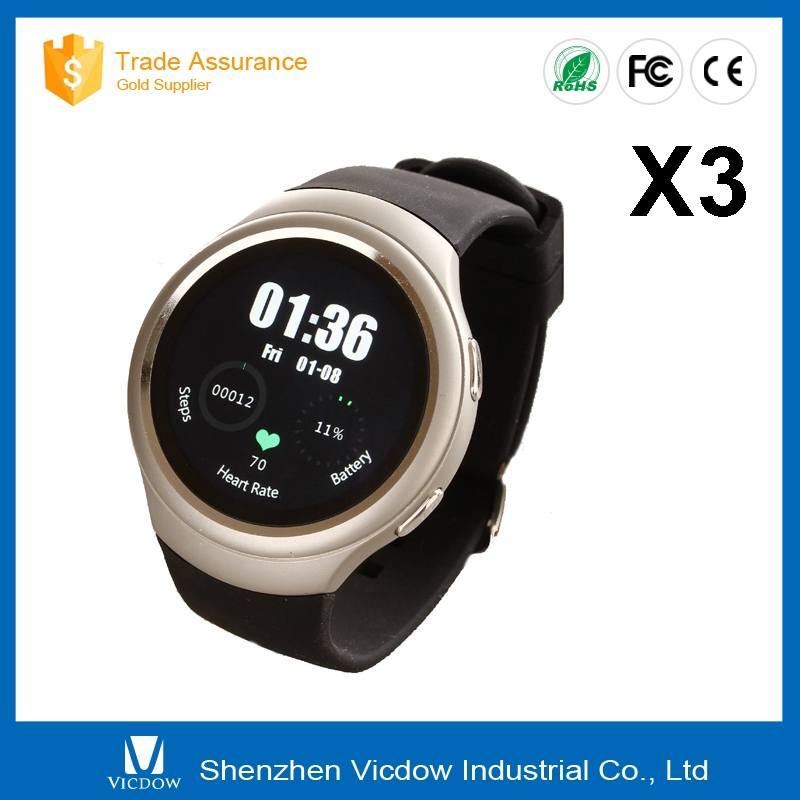 2016 factory price all intelligent 3g round X3 smart watch MTK 6572