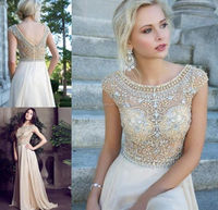 SJ1435 modest champagne cap sleeve transparent crystal bead chiffon floor length sexy 2015 high collar prom dress