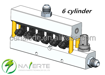 6 cylinder auto engine injector rail for conversion diesel to CNG