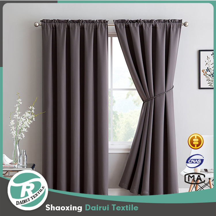 Rod Pocket Blackout Curtains Solid Thermal Insulated Draperies