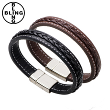 Top Quality Genuine Leather Bracelet Men Stainless Steel Leather Braid bangle With Magnetic Buckle Clasp leather bracelet