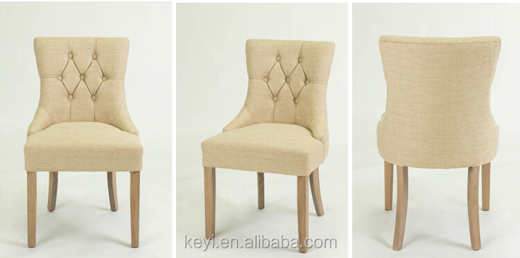 Button design high back wooden fabric chair /dining chair(KY-3336)