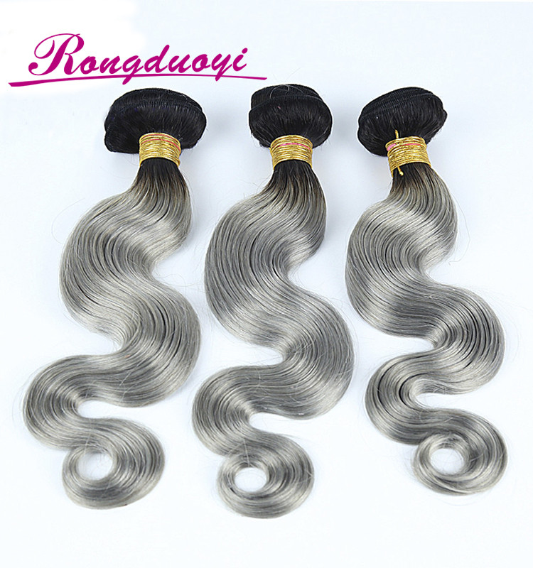 Soft texture body wave Brazilian hair weaving ombre grey human hair weaving bundles