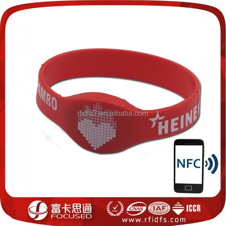 printed custom nfc silicone rubber wristband