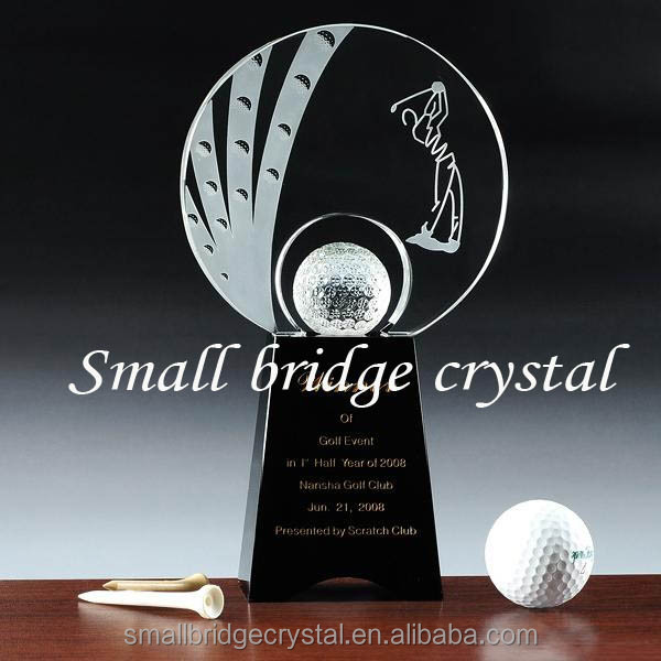 wholesale blank or laser-etch cheap ball glass crystal trophy for sports souvenir