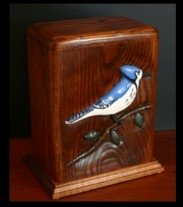Blue Jay/ oak wood/saw Miguel stain Urns