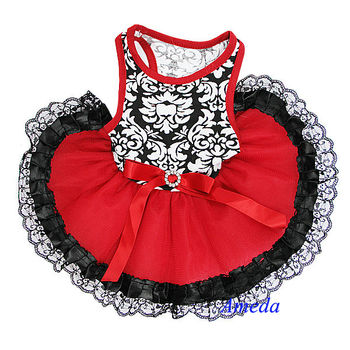 NEW Black Damask Red Black Lace Tutu Pets Dogs Clothes Party Dress XS-L