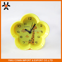Flower shape light yellow table clock,cartoon print desk clock for kid