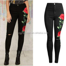 TO10 latest embroidery funky black ripped jeans for girls