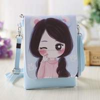 New Mini Mobile Phone leather Bag Fahsion PU Shoulder Bag cartoon mobile phone bag