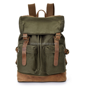 New 2018 young men canvas laptop leather backpacks